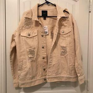 FOREVER 21 Distressed cream denim jacket